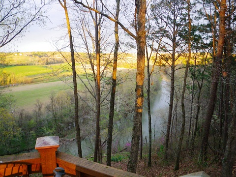 Overlooking the Big Piney River from the deck of our cabin site